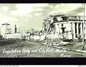 MANILA, THE PHILIPPINES, 1945. SHELL DAMAGED LEGISLATIVE BUILDING (SEE ALSO P82/68/07,13). APPROXIMATELY 800 TONS OF SHELLS HIT THIS BUILDING, YET FOUR JAPANESE SOLDIERS SURVIVED THE BARRAGE. CITY HALL IN BACKGROUND. (DONOR: B. COOPER; PHOTOGRAPHER: ROXAS).