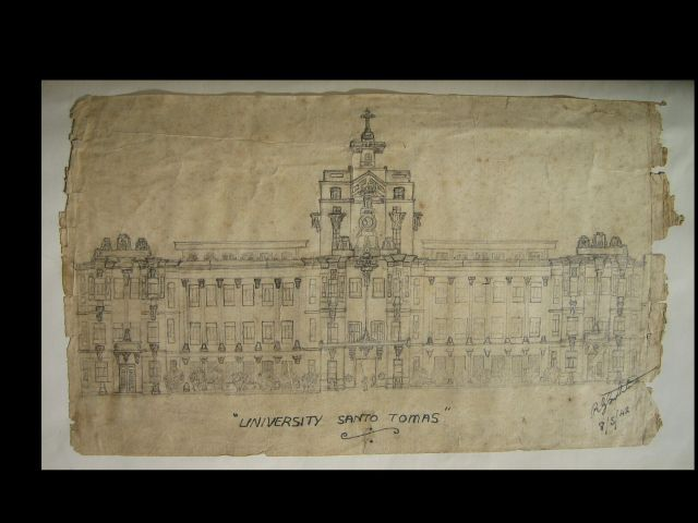 R. G.. Southerton drawing of Santo Tomas main building, 1942