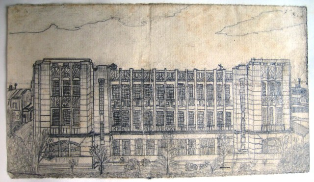 R. G. Southerton drawing of Santo Tomas main Seminary building, 1942