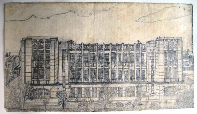 R. G. Southerton drawing of Santo Tomas main Seminary building, 1942