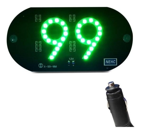 Placa de LED Luminosa 99 Verde com Conexao Isqueiro Veicular IMG 01
