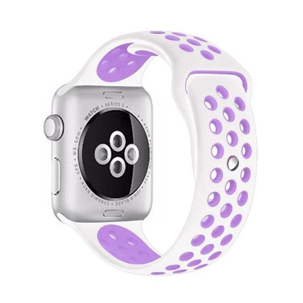 Pulseira Silicone Estilo Nike Apple Watch Branco Roxo Img 01