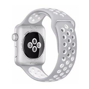 Pulseira Silicone Estilo Nike Apple Watch Cinza Branco Img 01