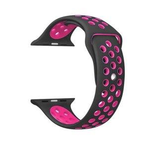 Pulseira Silicone Estilo Nike Apple Watch Preto Rosa Img 01