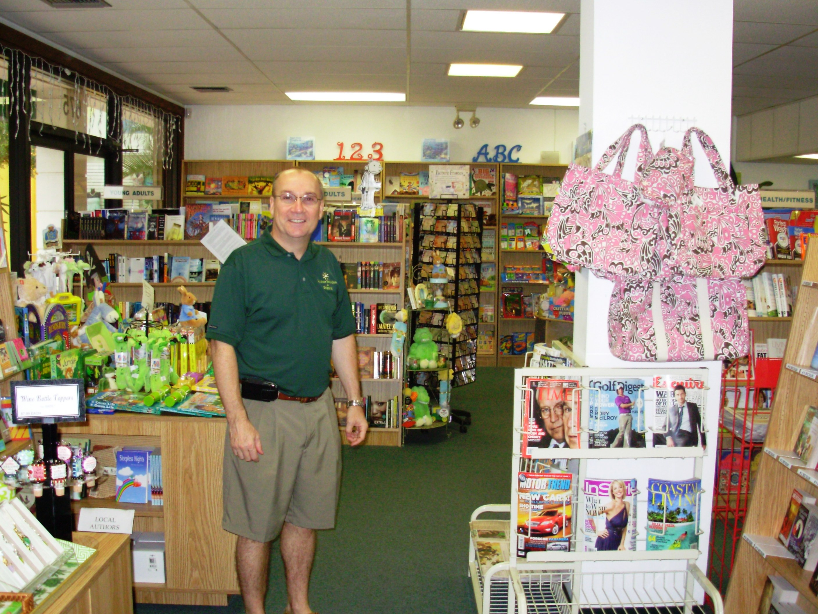 Stuart Unsworth in the south branch of Sunshine Booksellers