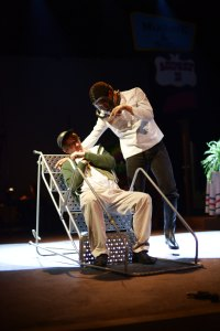 "Tom Burnett '15 and Eliot Sagay '15 in ""Little Shop of Horrors."" (E. Kaufmann-LaDuc/The Phillipian)."