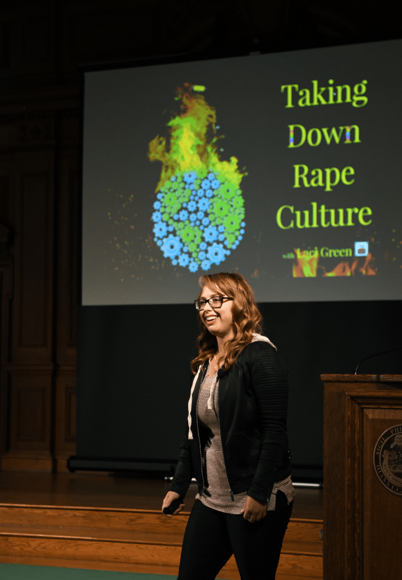Laci Green speaks at All-School Meeting.