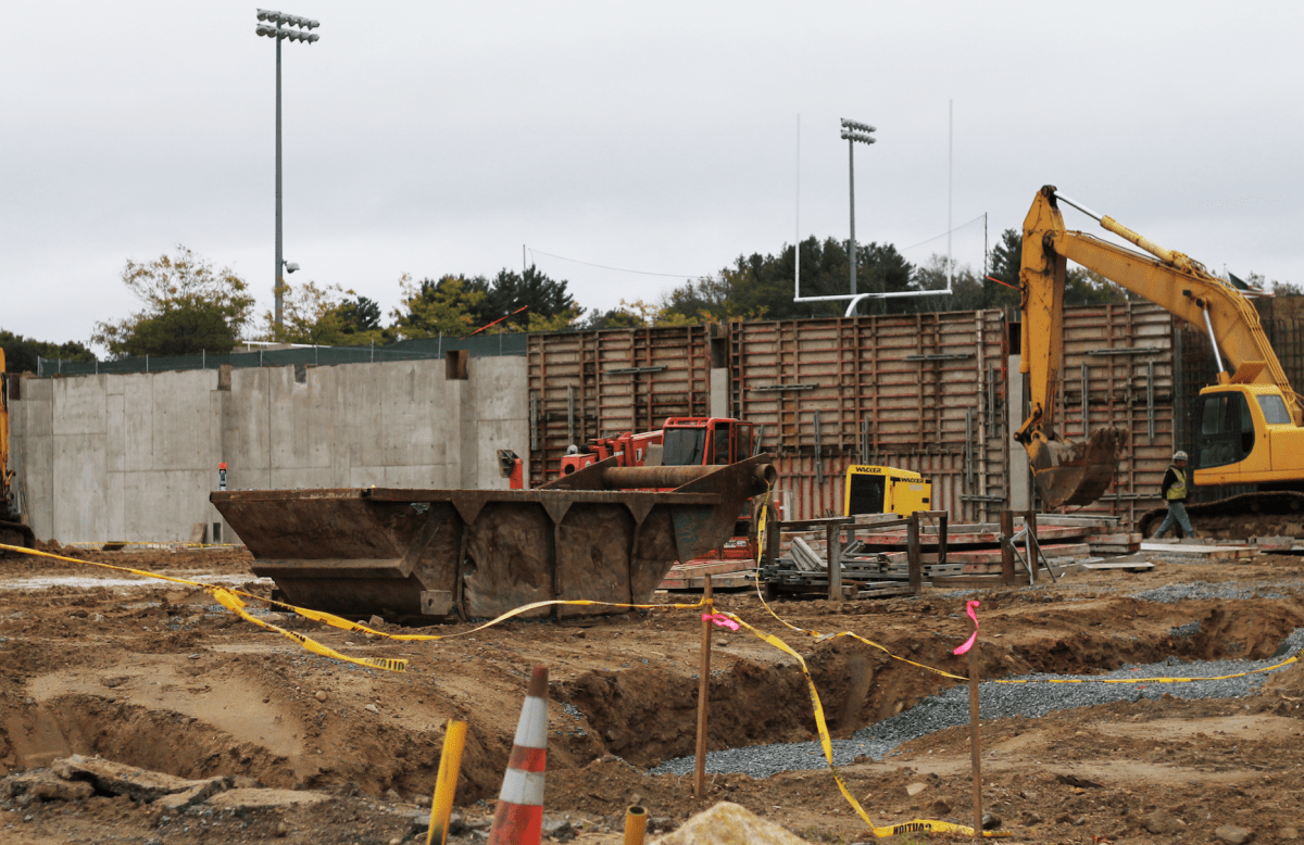 The Snyder Athletic Center construction site.