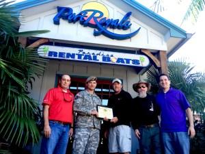 SFC Chad Borchers presents Paradise Boat Rentals with COA.
