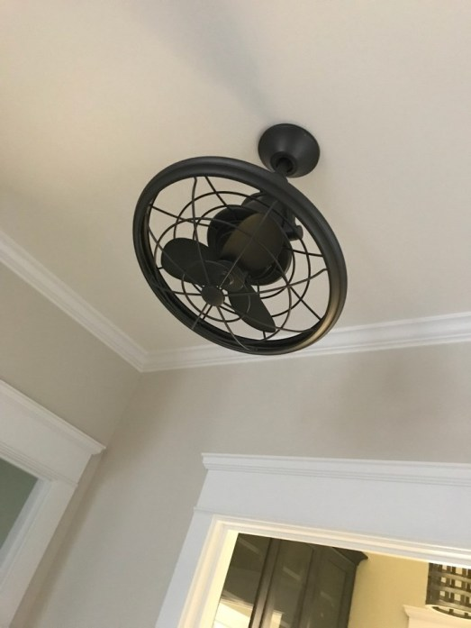 This fan points into the kitchen to cool you down while you cook.