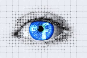 Facebook logo restin in Eye