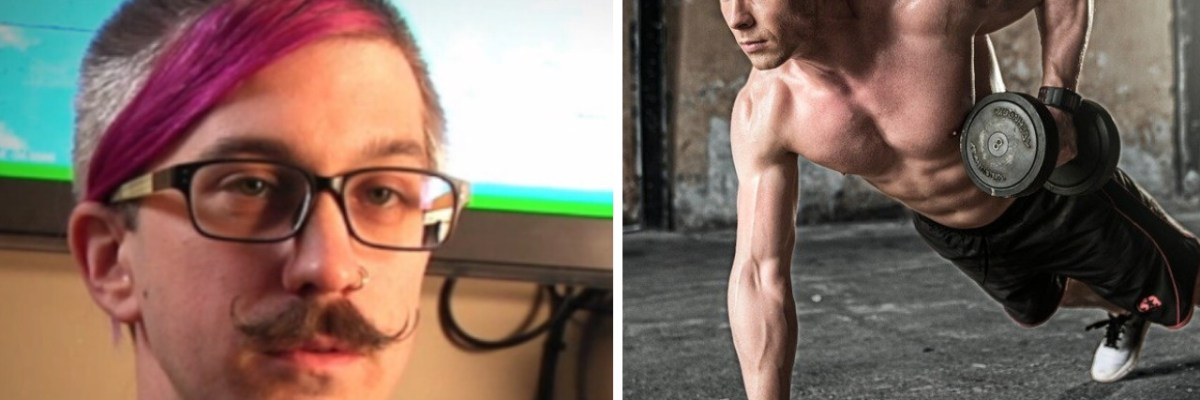 Liberal man and bodybuilder