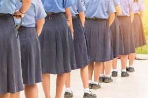 British school boys wearing skirts