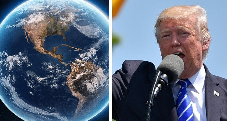 Donald Trump speaking and planet Earth