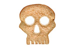 Gluten bread in shape of skull