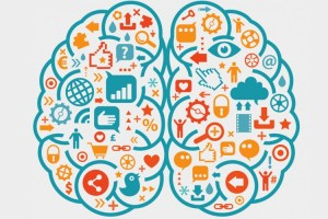 Brain with social media icons