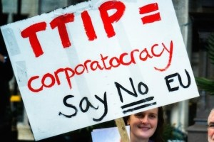 Woman protesting TTIP trade agreement