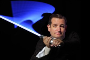 Ted Cruz with blue lightsaber