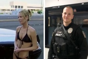 Police officer and woman in bikini
