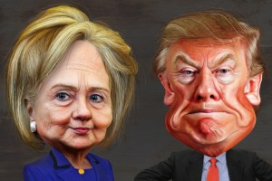 Cartoon of Doanld Trump and Hillary Clinton