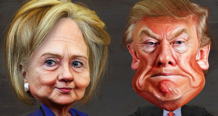 Cartoon of Doanld Trump and Hillary Clinton