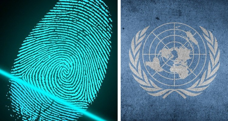 Biometric fingerprint and UN flag