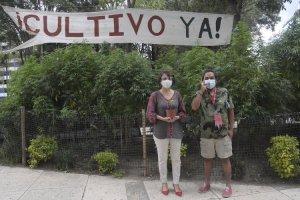 Pepe Rivera cannabis activist by marijuana garden