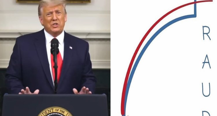 Donald Trump giving historic election fraud speech next to fraud graphic