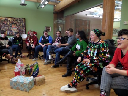 The cohort having fun together and exchanging gifts