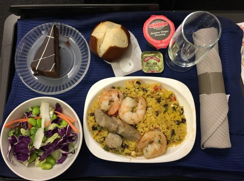 United Airlines A320 meal