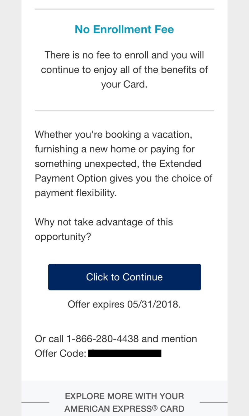 American Express Flexible Payment Option