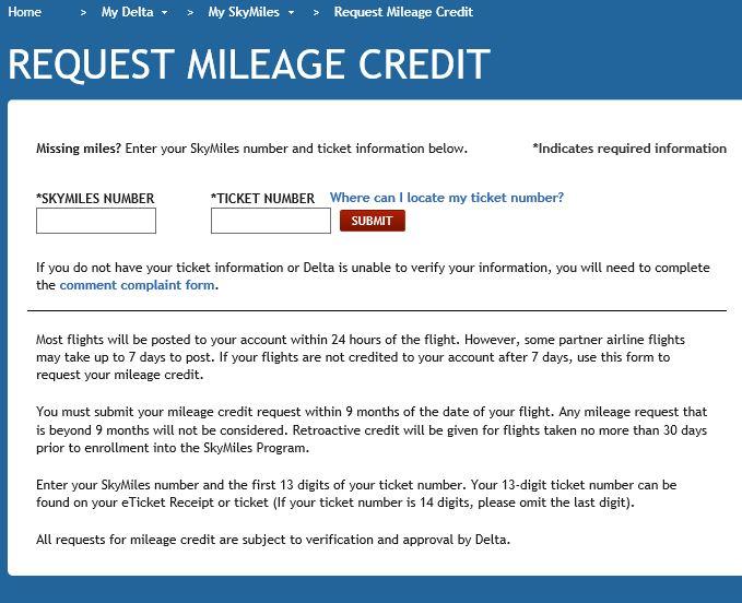 Delta Mileage Credit