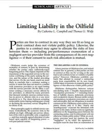 Limiting Liability in the Oilfield