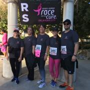 Phillips Murrah's Rae White, Michelle Campney, and Nanette Morris stand with two friends at Race for the Cure.