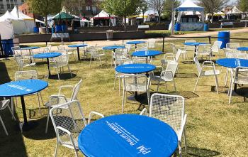 Lawn seating is a feature of the Six Day Cellars tent at the 2018 Festival of the Arts.