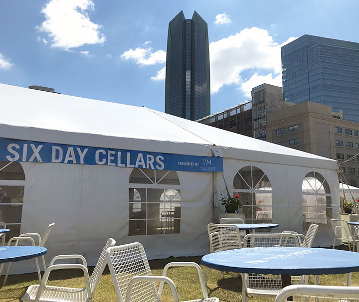 Phillips Murrah's Six Day Cellars tent sits ready for the kickoff of the 2018 Festival of the Arts.