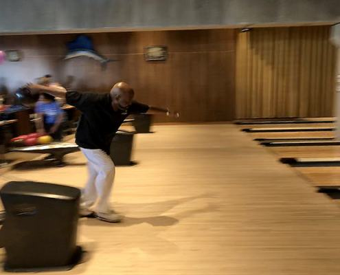David Carter shows off his skills at Bowling Night on May 10 at Dust Bowl Lanes
