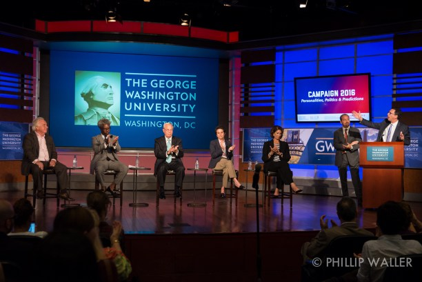 The School of Media and Public Affairs celebrates its silver anniversary with the first of several Campaign 2016 events on Thursday, Sept. 2, 2015, on the campus of George Washington University in Washington, D.C.