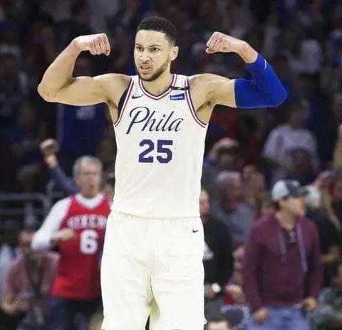 Ben Simmons flexing for Philadelphia