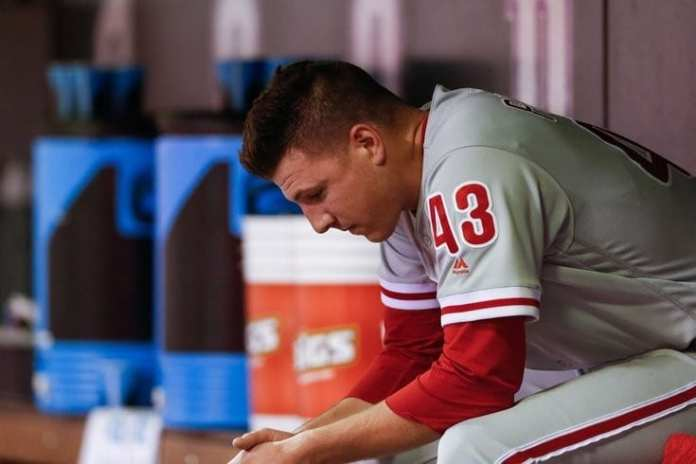 Nick Pavetta sullen on the Phillies bench.
