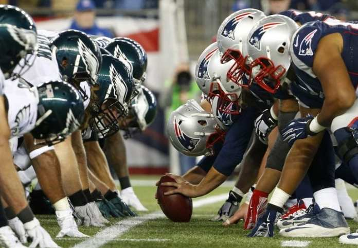 Eagles vs Patriots in the trenches. This is where much brain trauma happens and why a 17 game NFL season is a bad idea.