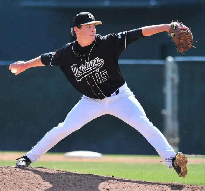 Spencer Howard pitching at Cal Poly