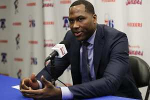 Sixers GM, Elton Brand at a press conference