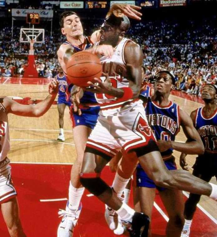 Bill Laimbeer try's to hurt Michael Jordan and stop him from winning rings
