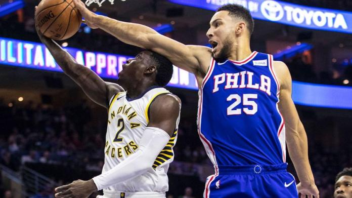 Ben Simmons shows off his defense and wingspan blocking Darren Collison at the rim