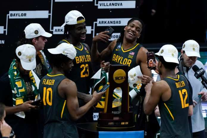 The Baylor Bears celebrating winning the 2021 NCAA tournament.