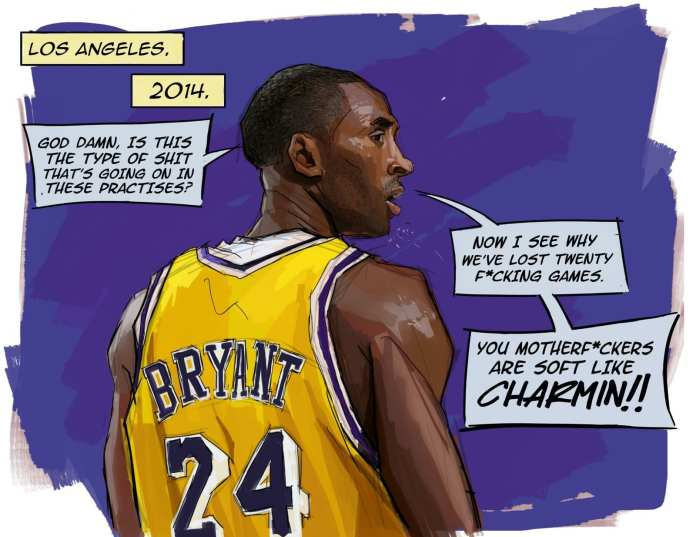 Kobe Bryant cartoon on what transpired in Lakers practice in 2014.