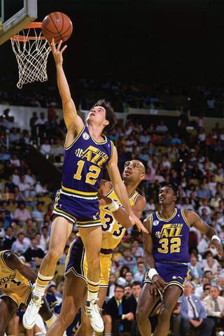 John Stockton putting up stats, playing the Showtime Lakers.