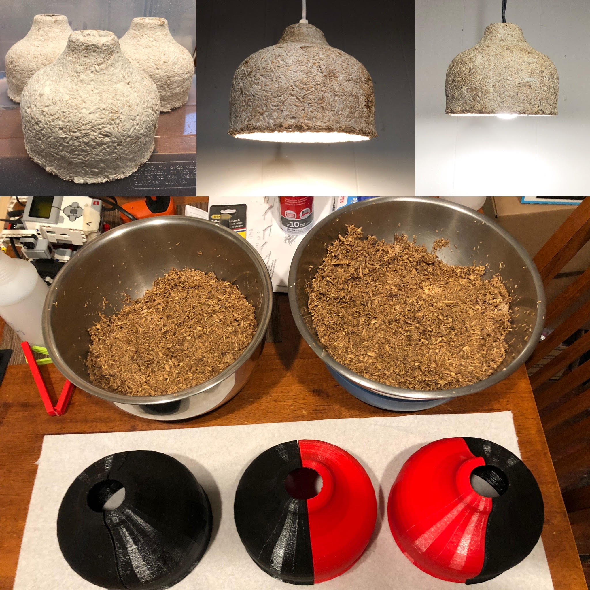 Multiple images of Christopher Sweeney's MycoLights including the shades alone, lit up, and the process of being molded.