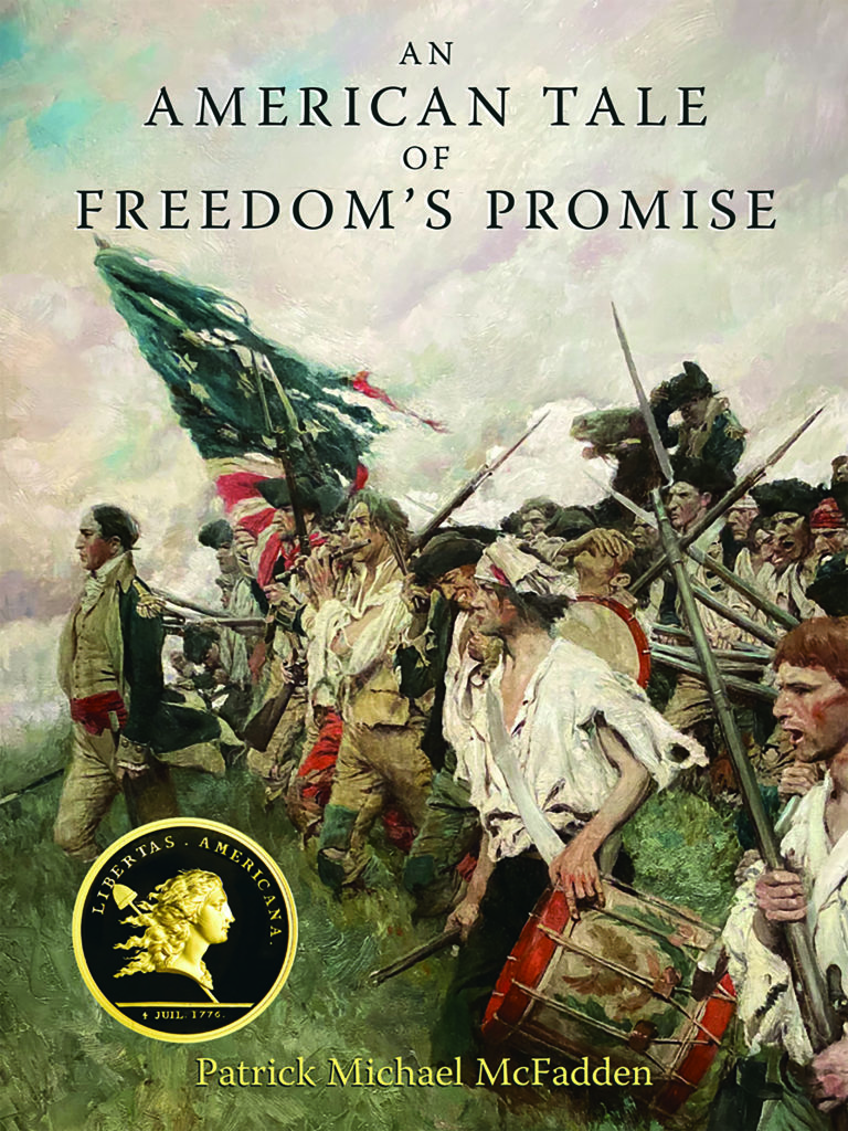 The cover of An American Tale of Freedom's Promise features a painting of a group of revolutionary war soldiers charging into battle.